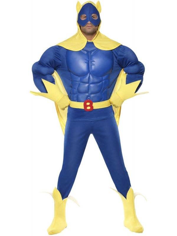 Bananaman Deluxe Blue and Yellow EVA Muscle Superhero Costume - Front