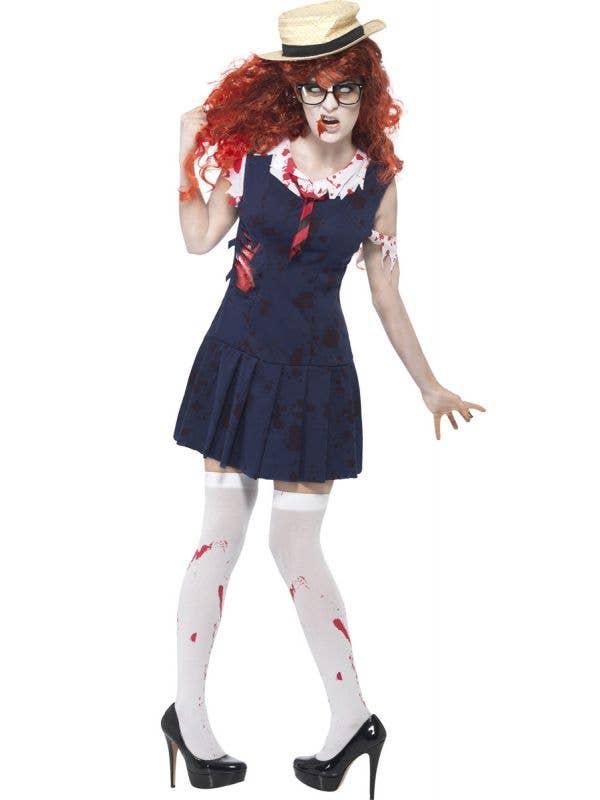 Women's Zombie Private Schoolgirl Halloween Costume Front View