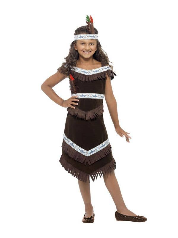 Girls Red Indian Costume Squaw Pocahontas Fancy Dress Outfit World Book Day Week