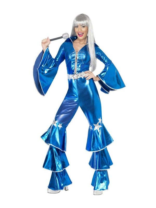 Metallic Blue Women's 70's Disco Costume Front View
