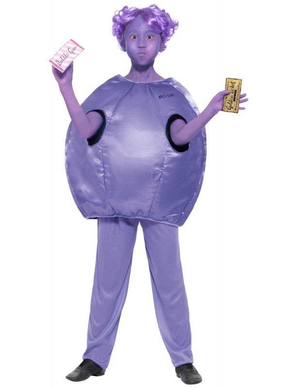 Girls Willy Wonka Violet Beauregarde Blueberry Book Week Costume Front Image