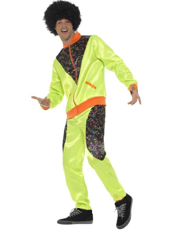 Men's Green Retro Shell Suit Costume Front Image