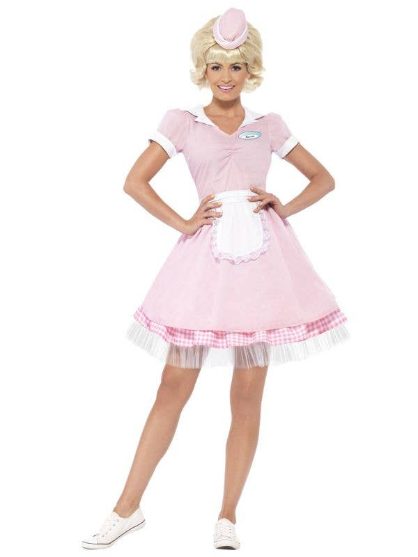 Baby Pink Womens Soda Pop 50s Diner Costume - Front View