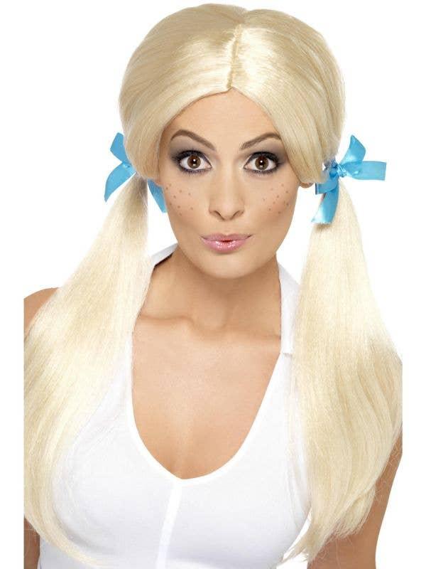 Women's Sassy Schoolgirl Blonde Pigtails Costume Wig
