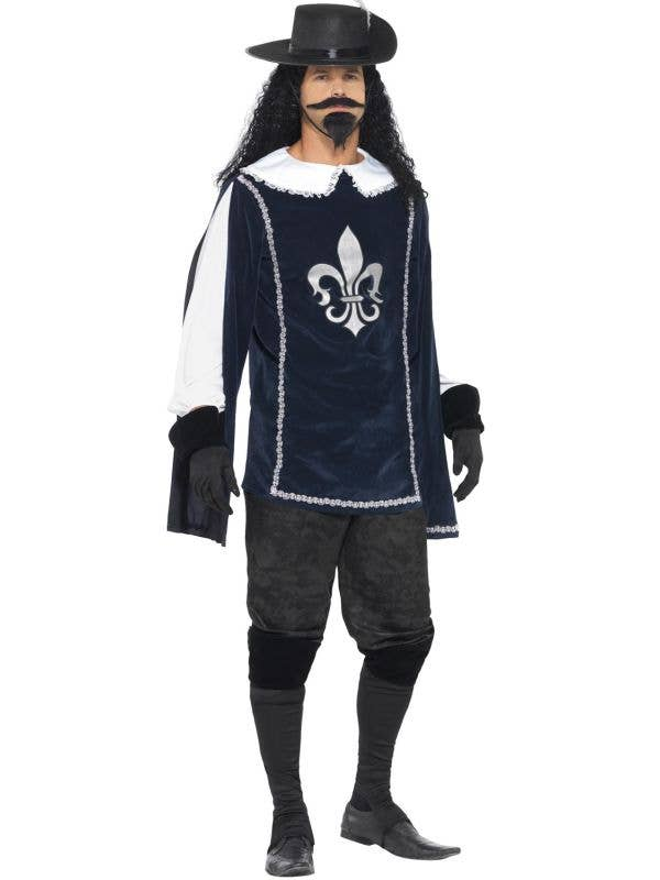 Men's blue Musketeer French Historical Book Week Costume Main Image