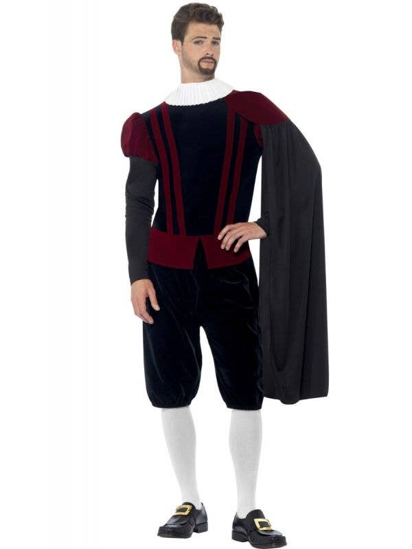 Men's Tudor Lord Medieval Deluxe Fancy Dress Costume Front Image