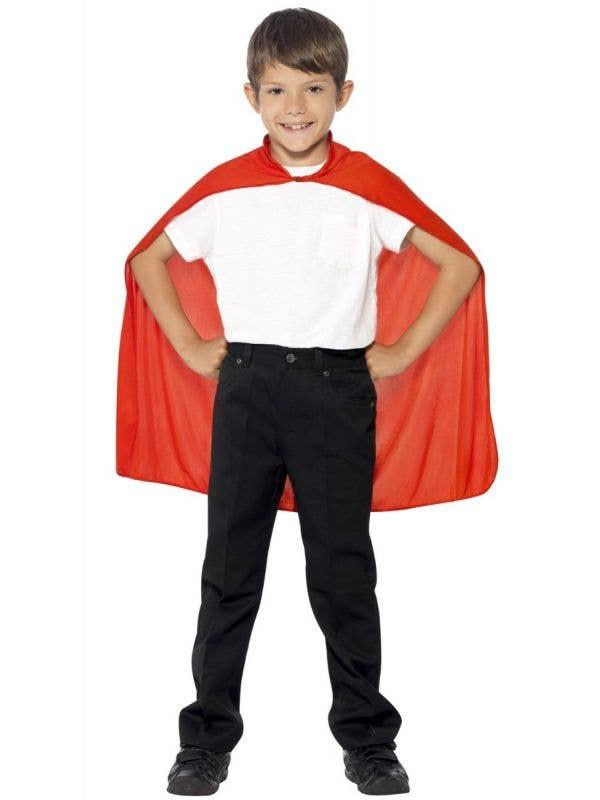 Kids Simple Red Superhero Costume Accessory Cape Main Image