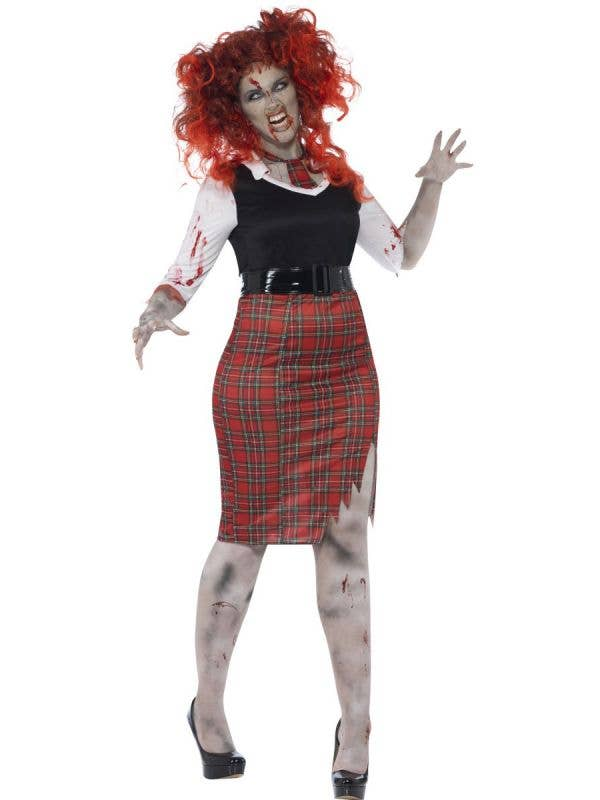Women's Plus Size Undead Zombie Schoolgirl Halloween Costume Front View