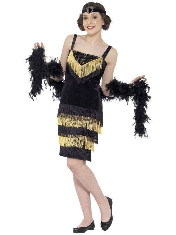 Black and Gold Teen Girls 1920's Great Gatsby Flapper Costume Image 1