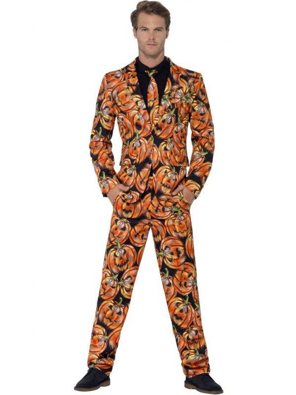 Smiffys Men's Halloween Haunted Pumpkin Stand Out Suit - Front View