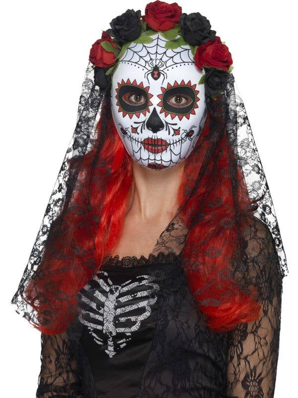 Women's Sugar Skull Mask with Black Lace Veil and Rose Headband