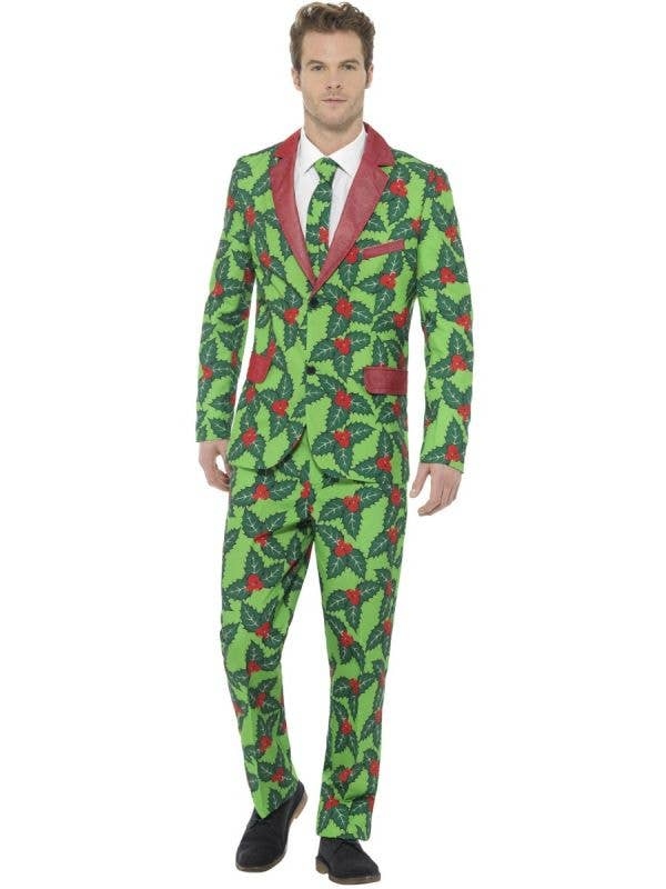 Men's Holly Berry Printed Christmas Stand Out Suit Front Image
