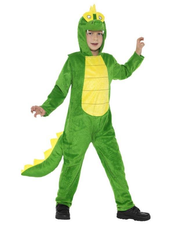 Kids Green Crocodile Onesie Fancy Dress Costume Front Image