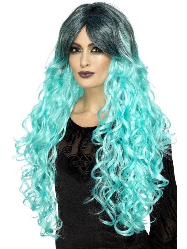 Aquamarine Blue Curly Gothic Glamour Wig Main Image