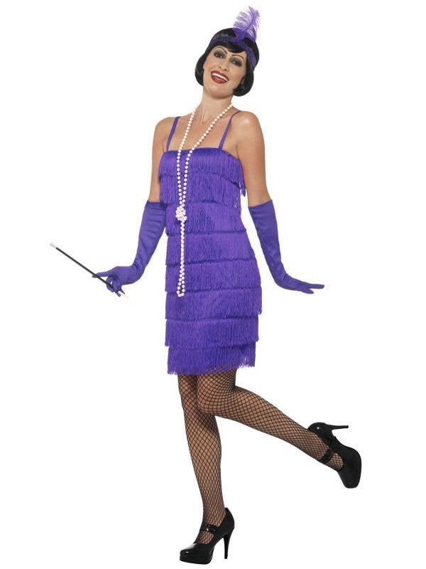 Women's Purple Fringed Flapper Dress with Matching Gloves and Feather Headband - Image 1