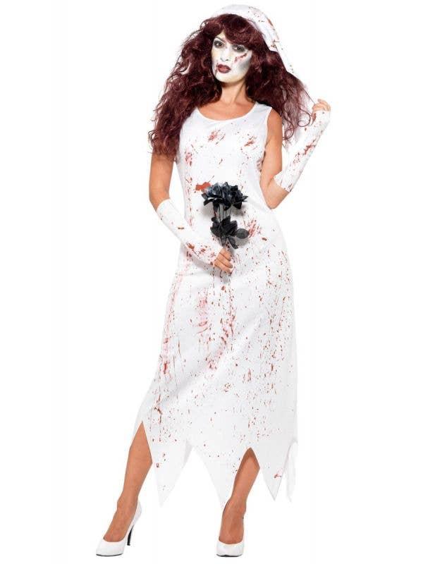 Women's White Undead Zombie Bride Halloween Blood Splattered Fancy Dress Costume Main Image