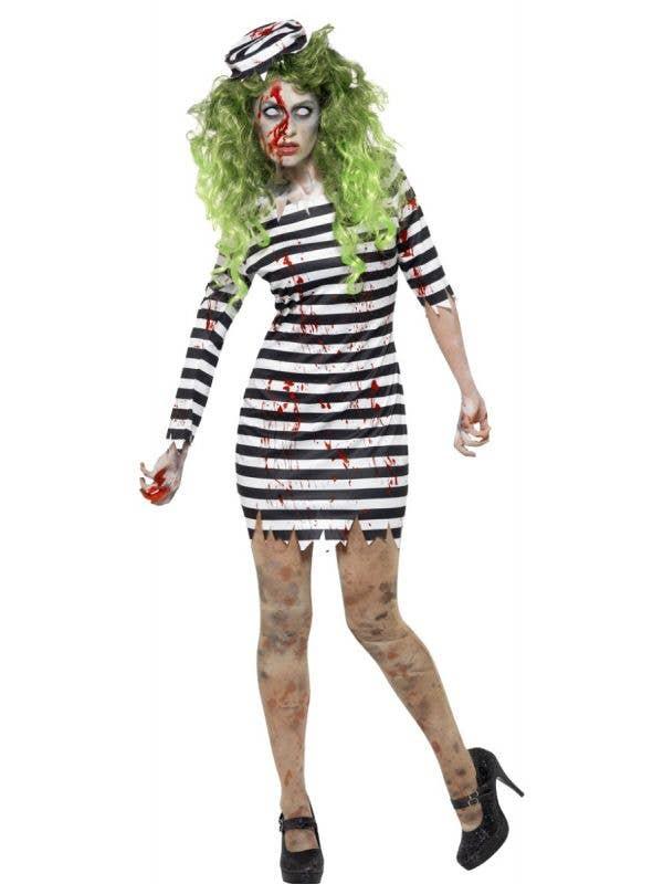 Black /& White Striped Tights Ladies Fancy Dress Zombie Blood Convict Halloween