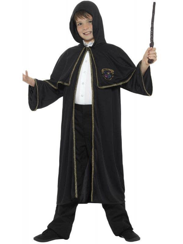 Kid's Black Wizard Robe Cloak Merlin Harry Potter Robe Gold Braided Trim Costume Main Image