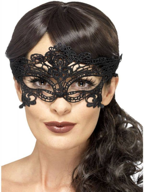 Soft Black Embroidered Filigree Masquerade Mask for Women