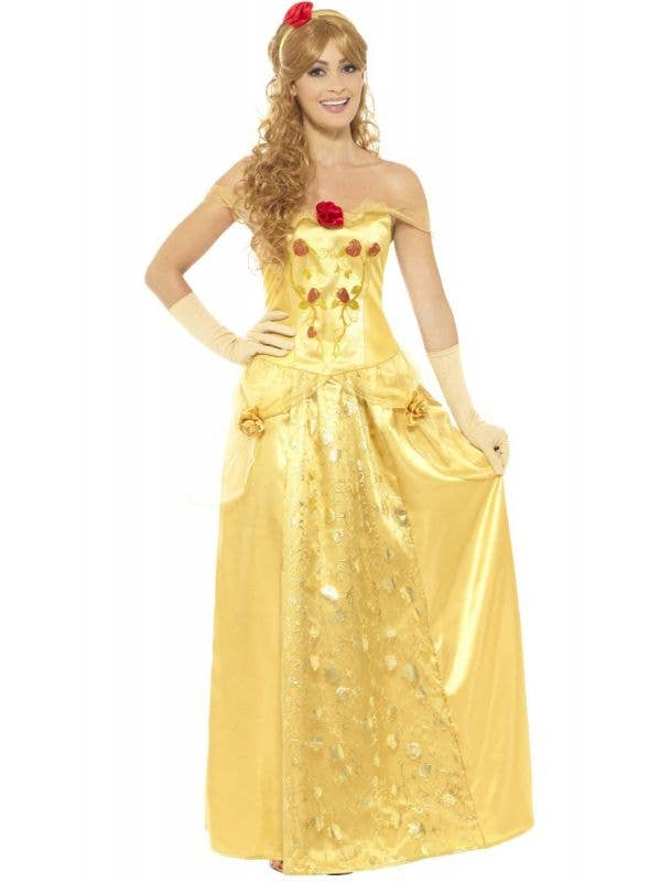 Women's Golden Princess Belle Beauty and the Beast Costume Front Image