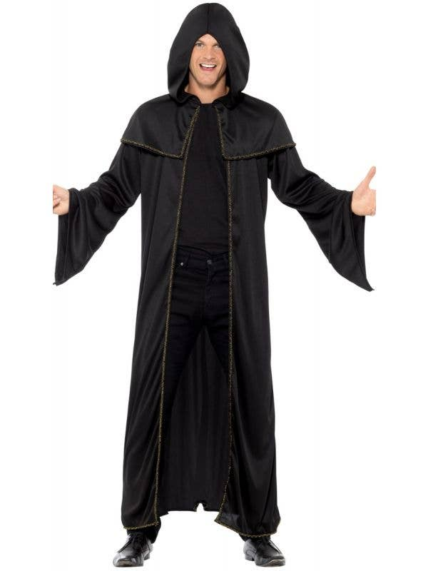 Black Wizard Cloak with Gold Braid Trim Front Image