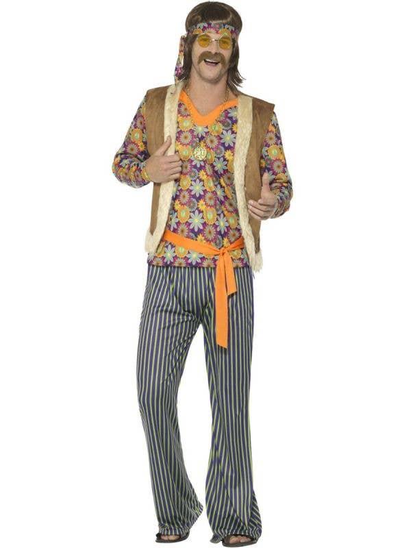 Men's 1960's Woodstock Hippie Singer Fancy Dress Costume Main Image