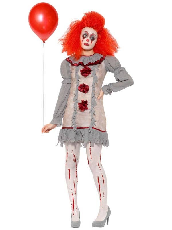 Women's Vintage Clown Pennywise IT Halloween Costume View 1