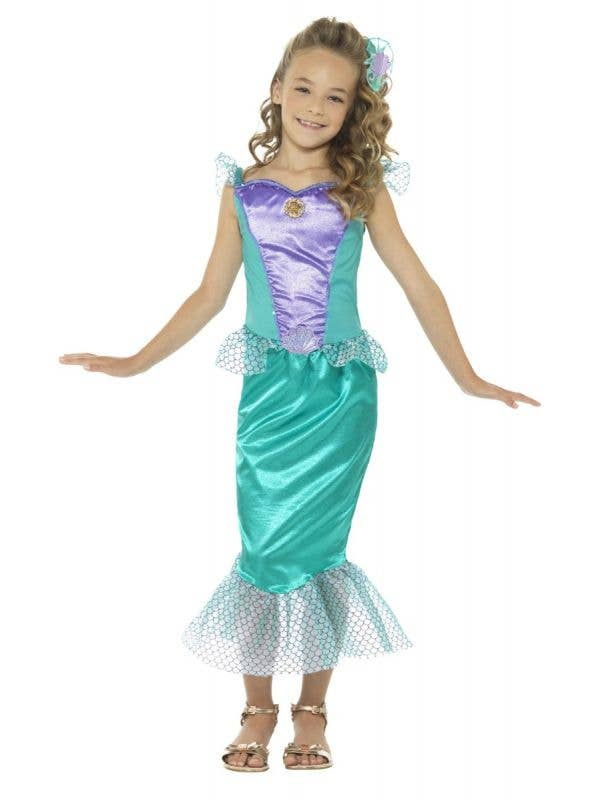 Girls Deluxe Magical Green Mermaid Fancy Dress Costume Front Image