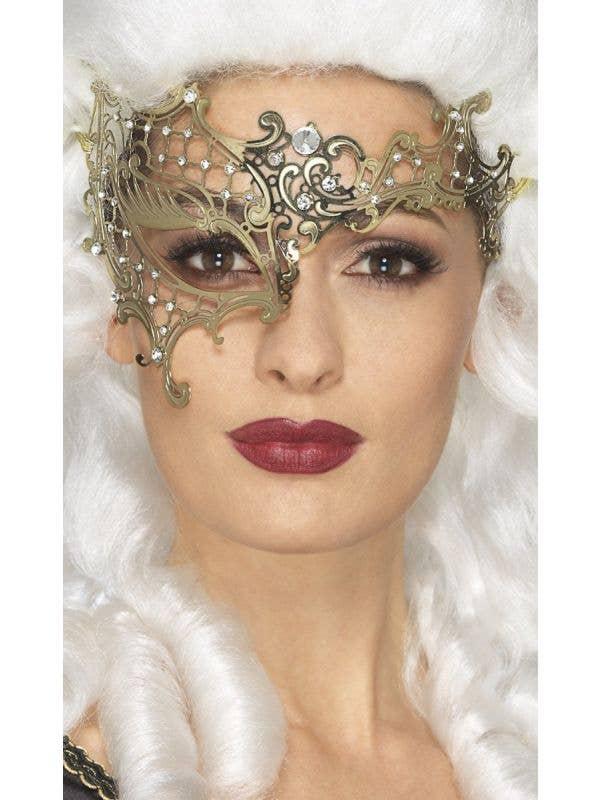 Metal Filigree Gold One Eye Mask Over the Eye Women's Smiffys Mask