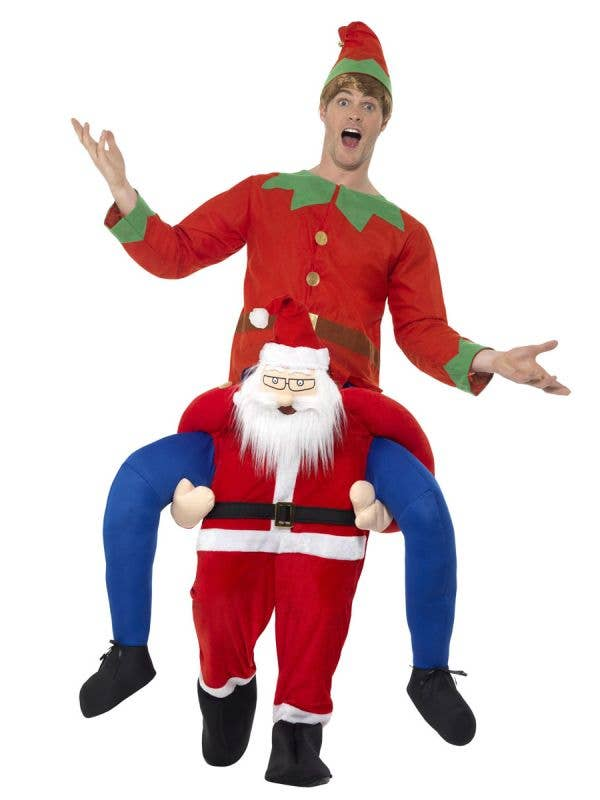 Novelty Santa Piggyback Funny Fancy Dress Costume For Men Main Image