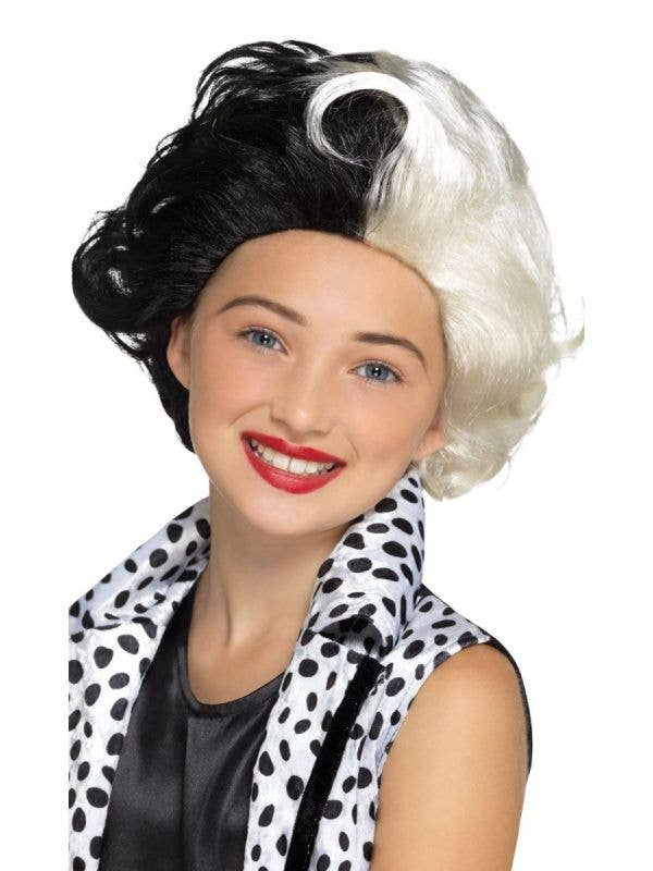 Girl's Black And White Curled Cruella De Vil Evil Madame 101 Dalmations Halloween Costume Wig For Kids Main Image