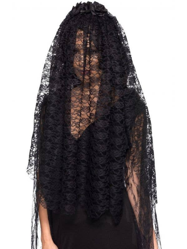 Smiffys Black Lace Black Widow Halloween Veil - Main View