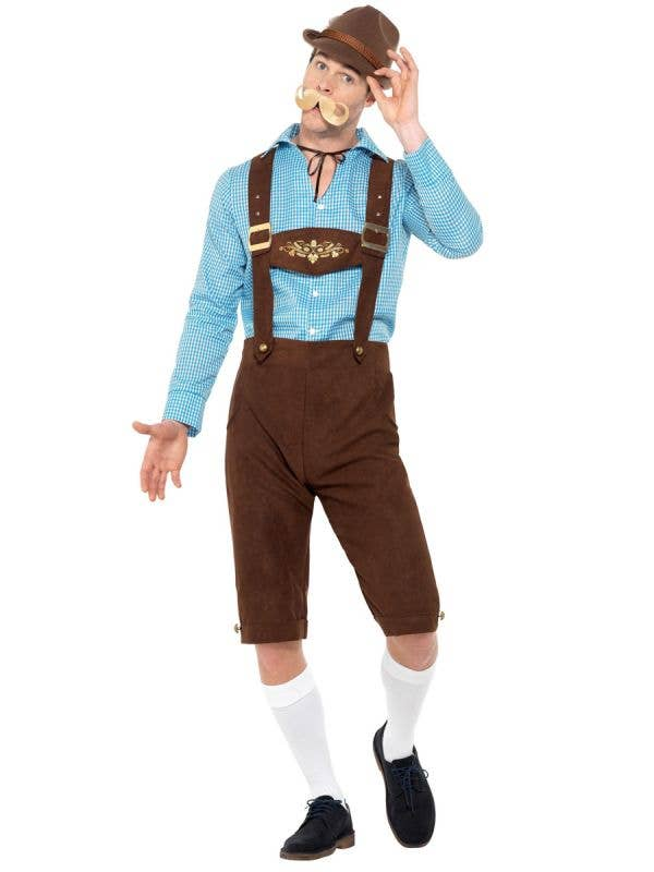 Oktoberfest Men's Blue and Brown Faux Suede Bavarian Beer Guy Lederhosen Fancy Dress Costume Front View 1