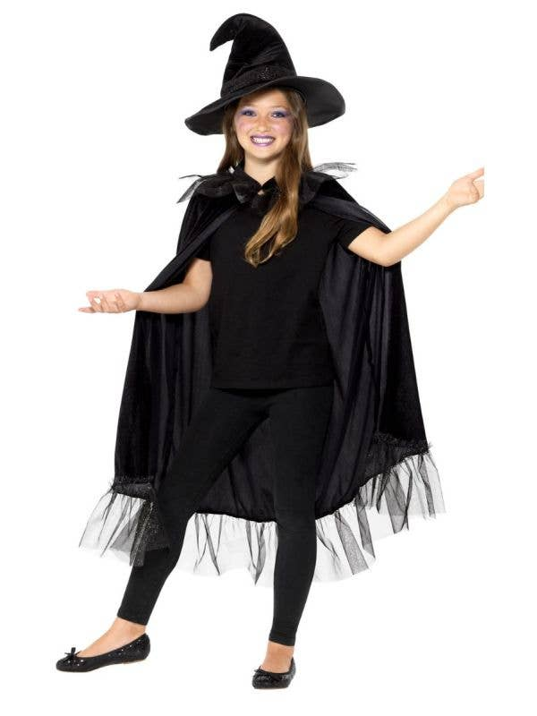 Girls Sparkly Witch Halloween Cape and Hat Costume Accessory Kit Main Image
