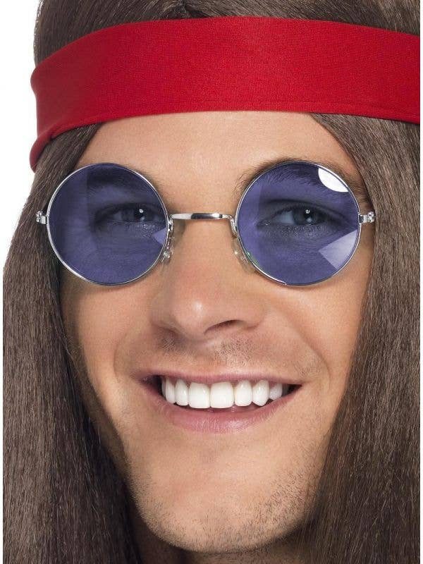 Round Hippie Costume Glasses with Blue Lenses