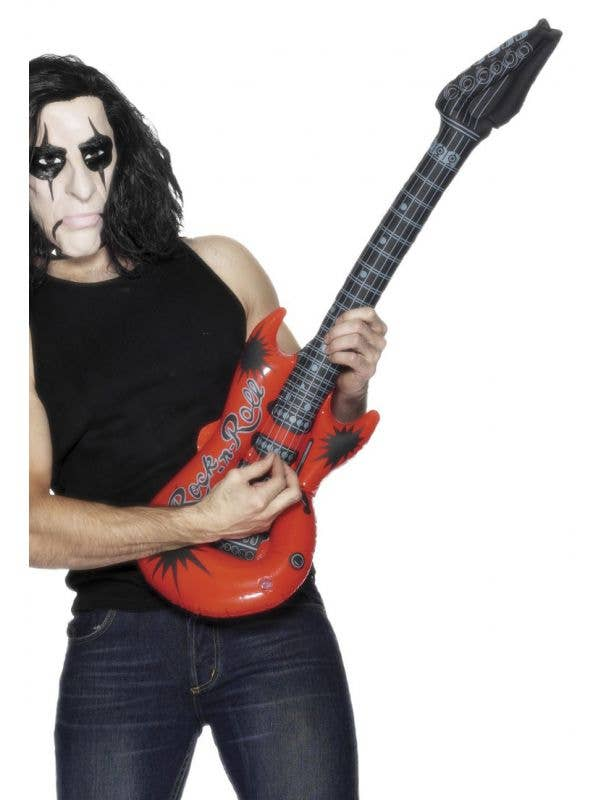 Red Inflatable Electric Guitar 80's Rock Star Costume Accessory Main Image