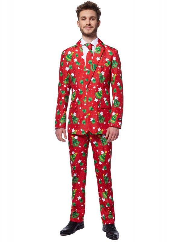 Red Christmas Trees and Stars Costume Suit for Men - Front Image