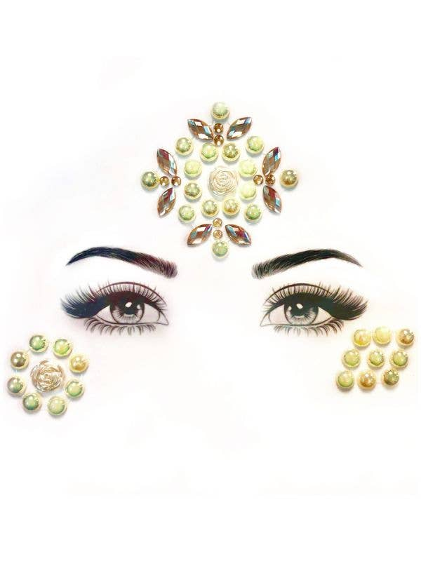 Pearls and Roses Stick On Face Gems
