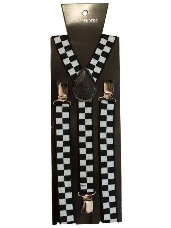 Novelty Checkered Black And White Clown Suspenders Costume Accessory Main View
