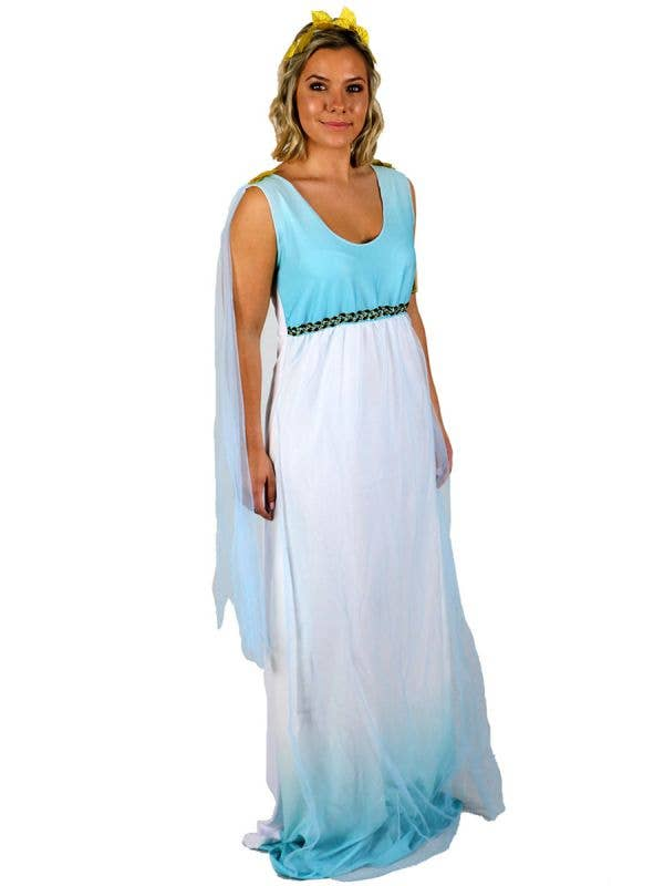 Grecian Goddess Plus Size Women's Blue and White Toga Costume