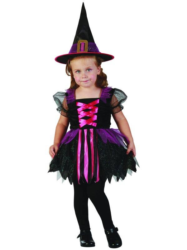 Toddler Girl's Glitzy Witch Fancy Dress Costume - Main Image