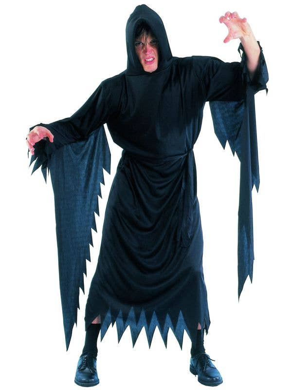 Black Hooded Robe Men's Scary Movie Costume