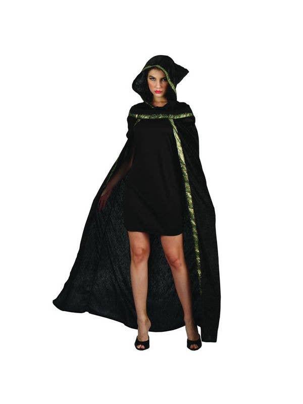 Long Black Night Rider Women's Halloween Costume Cape