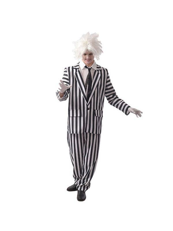 Black and White Striped Beetlejuice Style Men's Halloween Costume