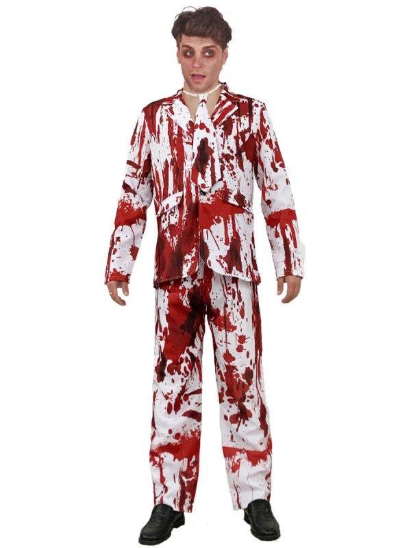 Men's Blood Splattered White Suit Halloween Costume