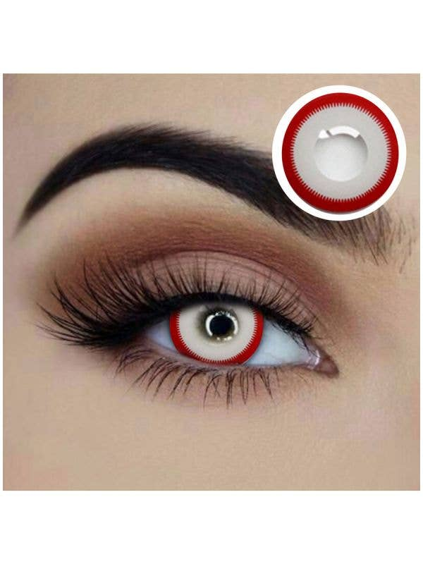 Crazed Red and White Yearly Wear Halloween Contact Lenses
