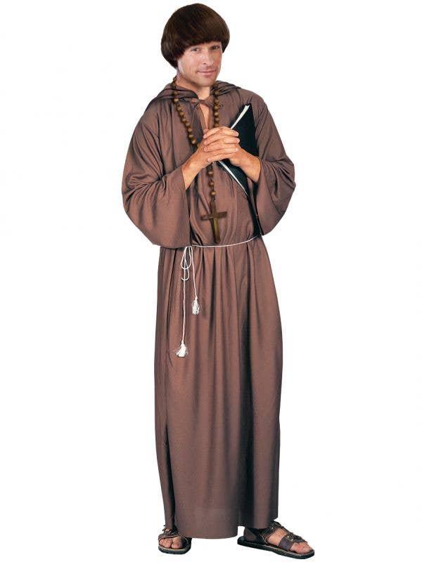 Long Brown Monk Costume Robe for Men