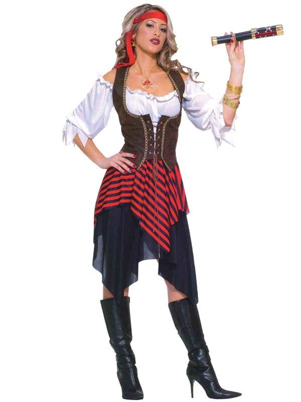 Women's Red Pirate Wench Sweet Buccaneer Seafarer Red and Black Stripe Corset Costume Main Image
