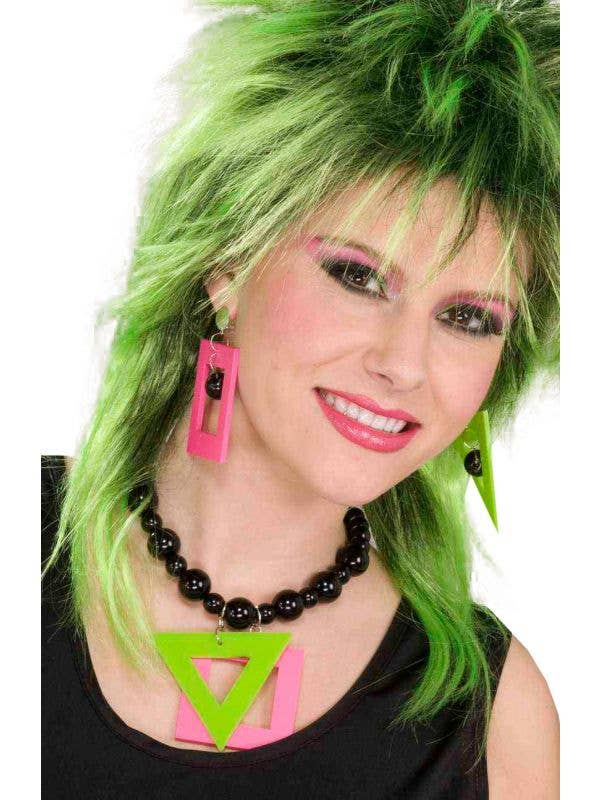 80s Fashion Neon Pink and Greeb Earrings and Necklace - Main Image