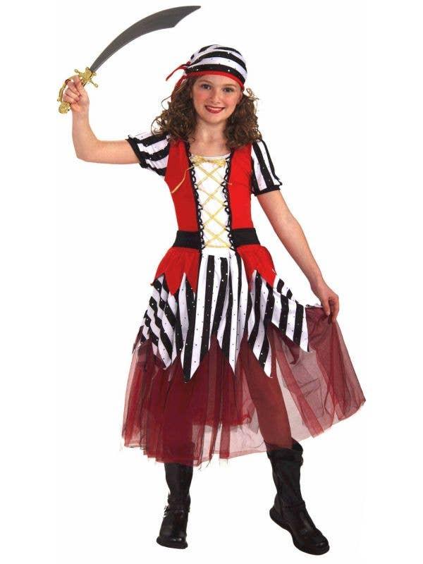 Red and Black Striped Petticoat Pirate Girls Book Week Costume